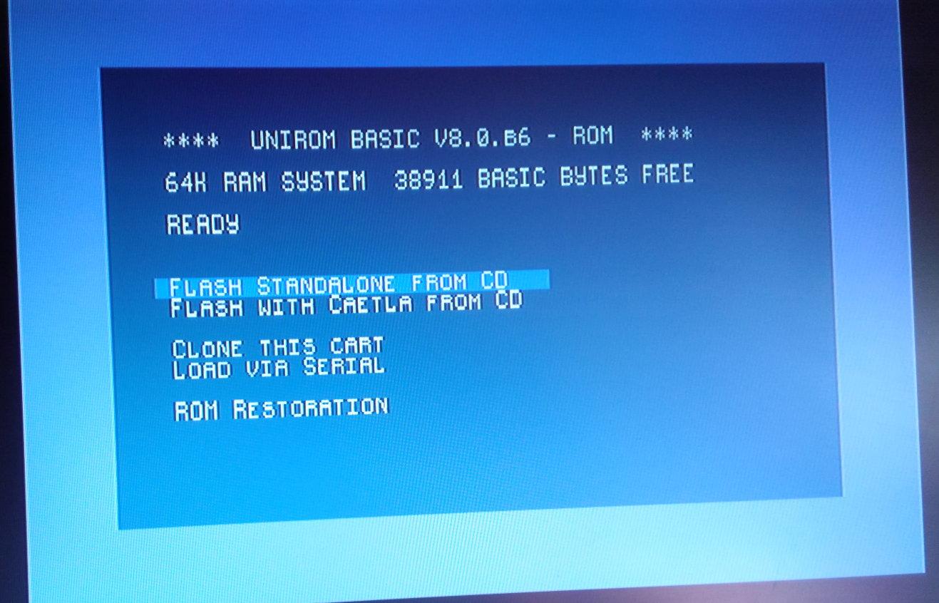 Unirom flash menu